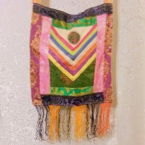 Vintage Fringed Boho Hippie Asian Satin Tote Bag